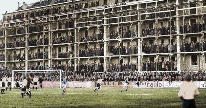 Мощное фото 90-летней давности: сотни болельщиков смотрят матч «Базеля» из недостроенного дома
